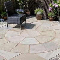 Autumn green Natural Sandstone Paving circle squaring off corner (L)2720 (W)2720mm Pack of 12
