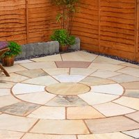 Fossil buff Natural Sandstone Paving circle squaring off corner (L)3650 (W)3650mm Pack of 20