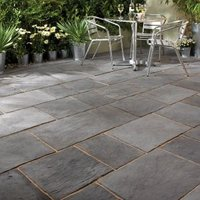 Dark grey Layered Slate Effect Mixed size paving pack (L)2750 (W)2450mm