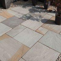 Rustic grey Natural Sandstone Single paving slab (L)600mm