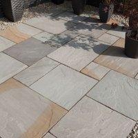 Grey blend Natural Sandstone Single paving slab (L)600mm