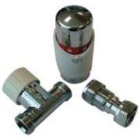 Drayton TRV4 White Chrome-plated Straight Thermostatic Radiator valve