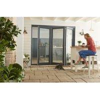 Jeld-Wen Bedgebury Clear Glazed Grey Hardwood Reversible External Folding Patio Door set  (H)2094mm (W)2994mm
