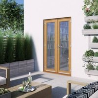 1 Lite Clear Glazed 2 Panel Golden Oak Hardwood External French Door  (H)2094mm (W)1194mm