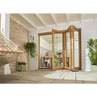 Jeld-Wen Kinsley Clear Glazed Golden Oak Reversible External Folding Patio Door set  (H)2094mm (W)2994mm