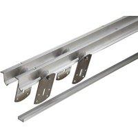 Silver Sliding wardrobe door track set (L)1828mm