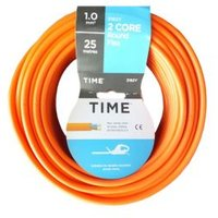 Time 2 Core Round Flexible Cable 1.0mm² 3182Y Orange 25m