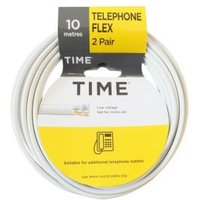 Time 2 Pair Telephone Flexible Cable 0.5mm ² White 10m