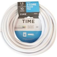 Time 3 Core Round Flexible Cable 1.5mm² 3183Y White 10 M