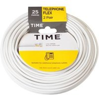 Time 2 Pair Telephone Flexible Cable 0.5mm ² White 25m