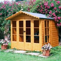 7X7 Kensington Shiplap Timber Summerhouse with Toughened Glass with Assembly Service Base Included