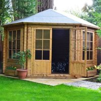10X10 Belvoir 28mm Tongue & Groove Timber Log Cabin with Felt Roof Tiles