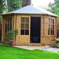 10X10 Belvoir 28mm Tongue & Groove Timber Log Cabin with Felt Roof Tiles with Assembly Service