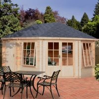14X10 Leygrove 28mm Tongue & Groove Timber Log Cabin with Felt Roof Tiles