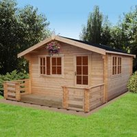 14X14 Kinver 34mm Tongue & Groove Timber Log Cabin with Felt Roof Tiles with Assembly Service