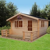 14X18 Kinver 34mm Tongue & Groove Timber Log Cabin with Felt Roof Tiles with Assembly Service