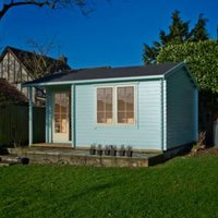 14X17 Twyford 44mm Tongue & Groove Timber Log Cabin with Felt Roof Tiles with Assembly Service