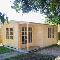 16X17 Twyford 44mm Tongue & Groove Timber Log Cabin with Felt Roof Tiles with Assembly Service