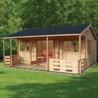 18X20 Kingswood 44mm Tongue & Groove Timber Log Cabin with Felt Roof Tiles