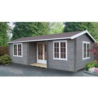 26X14 Elveden 44mm Tongue & Groove Timber Log Cabin with Felt Roof Tiles with Assembly Service