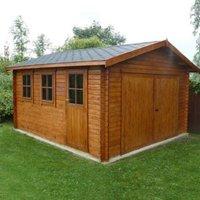 15X13 Bradenham Timber Garage with Felt Roof Tiles Base Included