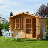 10X8 Sandringham Shiplap Timber Summerhouse with Felt Roof Tiles with Assembly Service