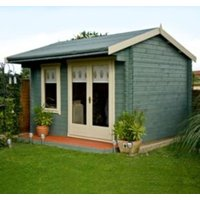 10X10 Marlborough 28mm Tongue & Groove Timber Log Cabin with Felt Roof Tiles