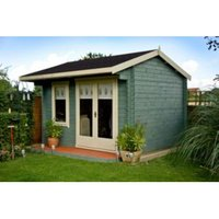 10X14 Marlborough 28mm Tongue & Groove Timber Log Cabin with Felt Roof Tiles with Assembly Service