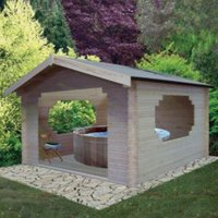 11X11 Bere 28mm Tongue & Groove Timber Log Cabin with Felt Roof Tiles with Assembly Service