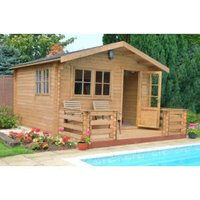 12X14 Kinver 34mm Tongue & Groove Timber Log Cabin with Assembly Service