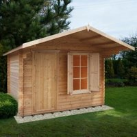 10X8 Hopton 28mm Tongue & Groove Timber Log Cabin with Felt Roof Tiles with Assembly Service