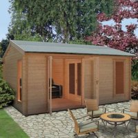 13X17 Firestone 34mm Tongue & Groove Timber Log Cabin with Assembly Service