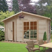 14X10 Bourne 28mm Tongue & Groove Timber Log Cabin with Felt Roof Tiles with Assembly Service