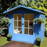 7X5 Lumley Shiplap Timber Summerhouse with Toughened Glass with Assembly Service Base Included