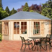 14X10 Rowney 28mm Tongue & Groove Timber Log Cabin with Assembly Service