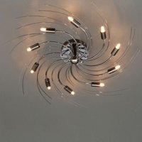 Yarrow Spiral Black Chrome effect 10 Lamp Flush ceiling light