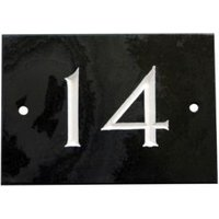 Black Slate Rectangle House Plate Number 14