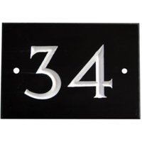 Black & white Slate Rectangle 102mm House plate number 34