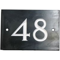 Black Slate Rectangle House Plate Number 48