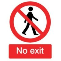 The House Nameplate Company PVC Self Adhesive No Exit Sign (H)200mm (W)150mm