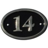 Black Brass House Plate Number 14