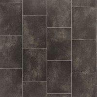 Black Slate tile effect Vinyl flooring 4 m²