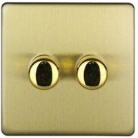 Varilight 2-Way Single Brushed Brass Effect Switch