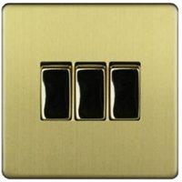 Varilight 10A 2 way Brass effect Single Switch