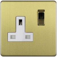 Varilight 13A Single Brushed Gold Effect Plug Socket