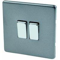 Varilight 10A 2 way Matt grey Double Light Switch