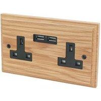Varilight 13A Oak Unswitched Double Socket & 2 x USB