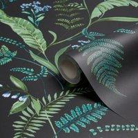 K2 Fern & flowers Green Floral Wallpaper