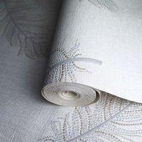 Opus Marcia Grey Feather Metallic effect Embossed Wallpaper