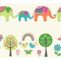 Cream Green & Orange Elephants & Trees Children's Wallpaper